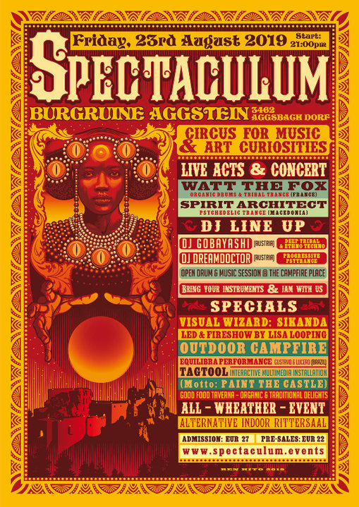 Party Flyer °SPECTACULUM° circus for music - SPIRIT ARCHITECT live, WATT THE FOX live, .. 23 Aug '19, 21:00