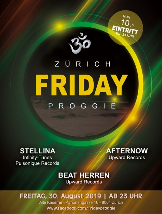 Party Flyer Friday Proggie - Edition alte Kaserne Zürich 30 Aug '19, 23:00
