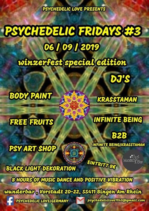 Party Flyer Psychedelic Fridays #3 / Winzerfest Special Edition 6 Sep '19, 22:00