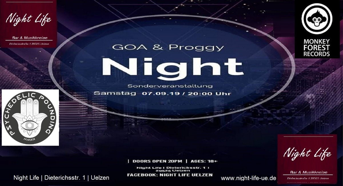 Party Flyer Psychedelic Pounding-Goa&Proggy Night feat 2.Monkey Forest DJ's 7 Sep '19, 20:00