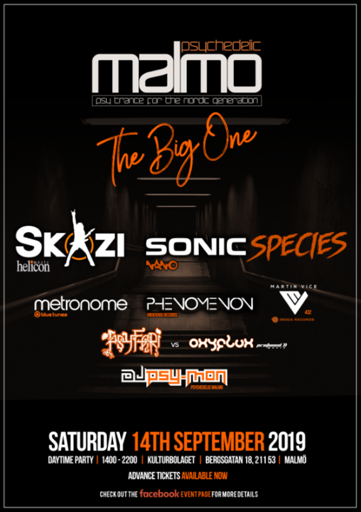 Party Flyer Psychedelic Malmo - Skazi, Sonic Species, Metronome + More 14 Sep '19, 14:00