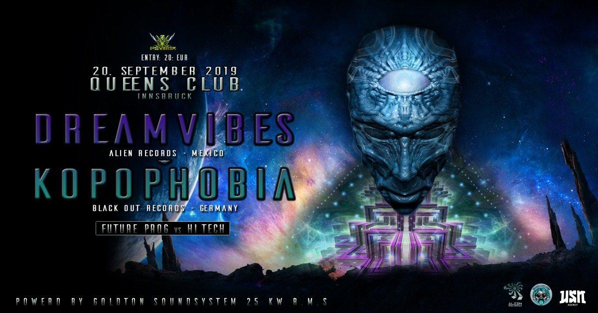 Party Flyer Psybox pres. Dreamvibes & Kopophobia - Future Prog vs Hi Tech 20 Sep '19, 22:00