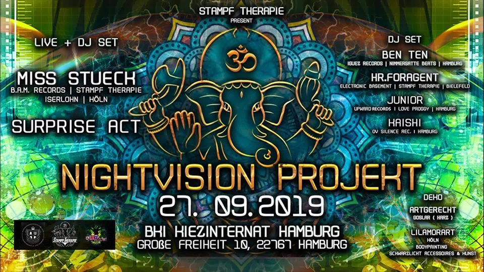 Party Flyer ॐNightVision Projekt ॐ 27 Sep '19, 22:00