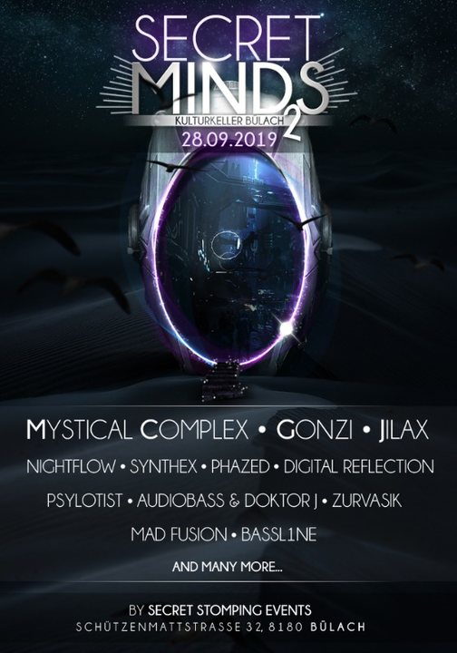 Party Flyer Secret Minds 2 with Mystical Complex, Gonzi, Jilax and many more 28 Sep '19, 22:00