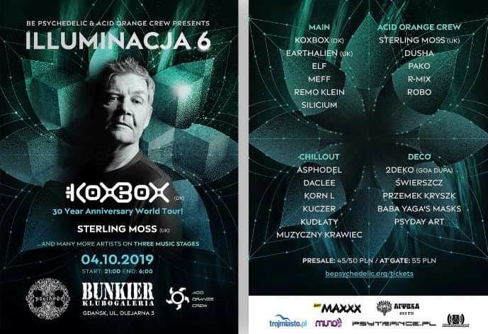 Party Flyer Be Psychedelic presents: Illuminacja 6 - KoxBox 30 Year Anniversary Tour 4 Oct '19, 21:00