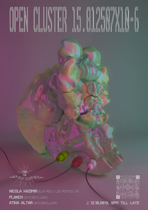 Party Flyer Open Cluster 15.812507x10-6 12 Oct '19, 18:00