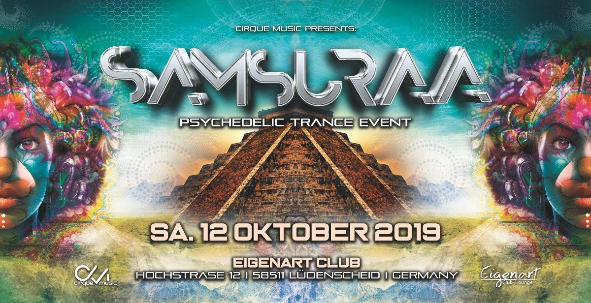 Party Flyer ·•●❂ Samsuraa °nouveau spectacle° ❂●•· 12 Oct '19, 22:00