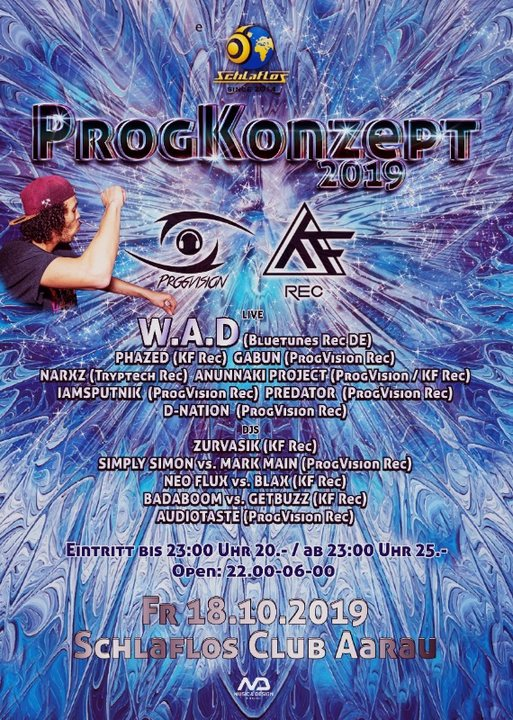 Party Flyer ★ ProgKonzept ★ w/ W.A.D, Phazed, Narxz, Predator, Gabun uvm. 18 Oct '19, 22:00