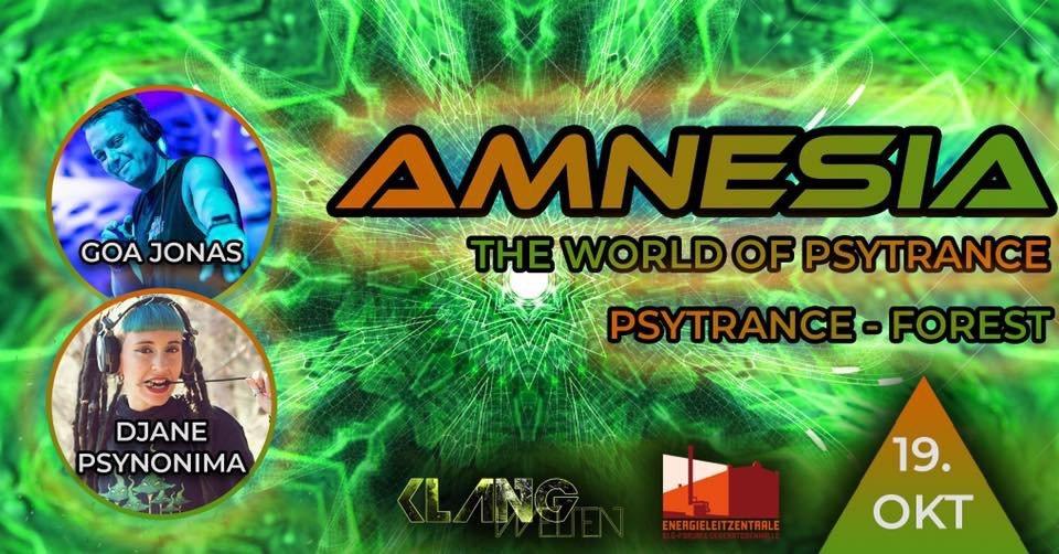 Party Flyer Amnesia The World of Psytrance | Djane Psynonima Live| Goa Jonas 19 Oct '19, 22:00