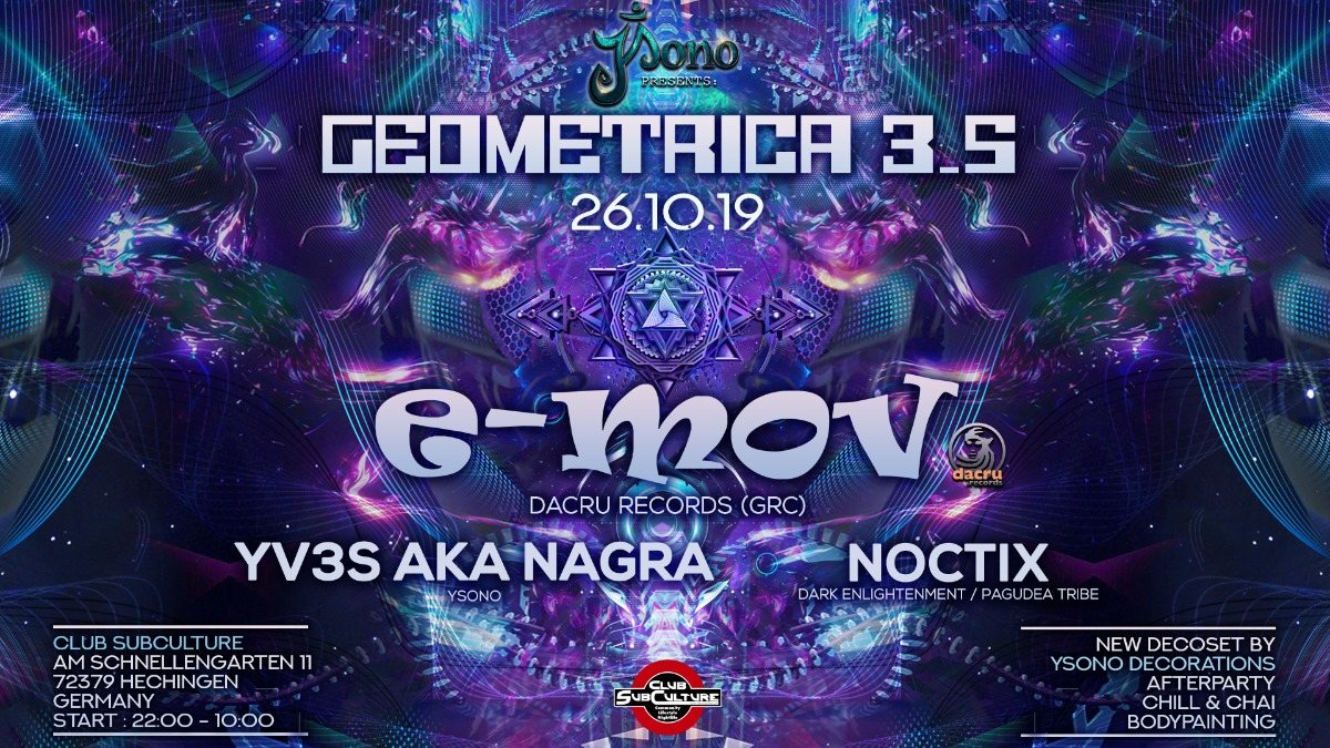 Party Flyer Geometrica 3.5 with E-Mov / New Decoset 26 Oct '19, 22:00
