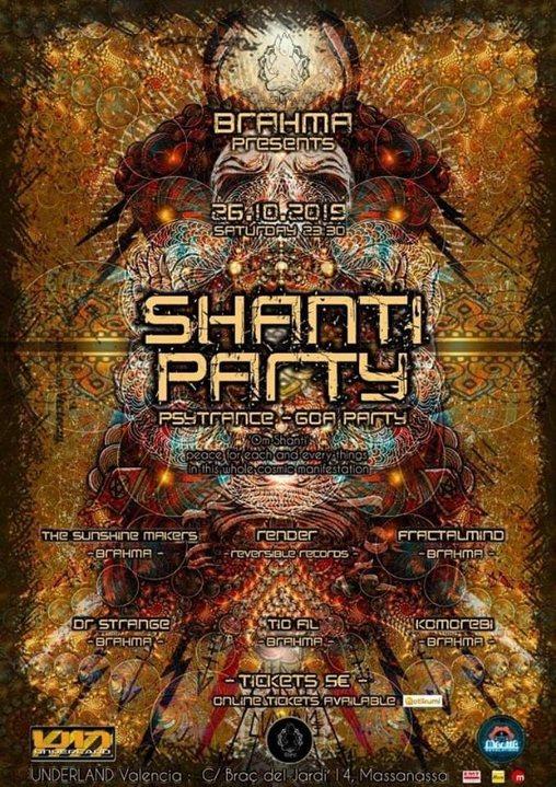 Party Flyer Shanti Party Psytrance-Goa By Brahma 26 Oct '19, 23:30