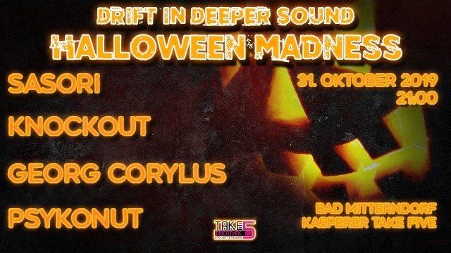 Party Flyer Drift In Deeper Sound - Halloween Madness 31 Oct '19, 21:00