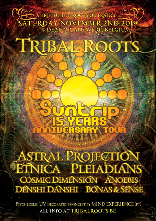 Party Flyer Tribal Roots > 15 Years Suntrip Anniversary Tour 2 Nov '19, 22:00