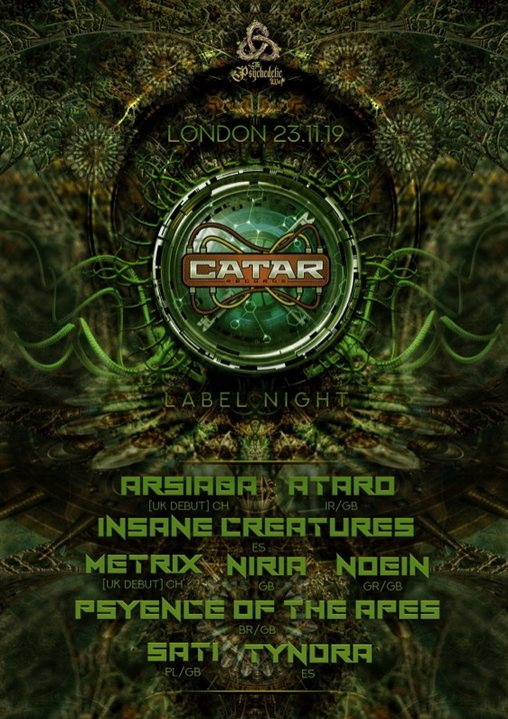 Party Flyer The Psychedelic Way & Catar Records label night 23 Nov '19, 23:00