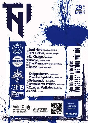 """Party Flyer Friedlich Feiern präs. TNI REC. Release """"Vergessen werden wir nie"""" 29 Nov '19, 23:00"""