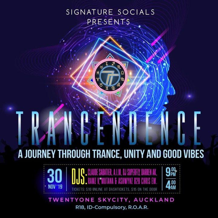Party Flyer Tracendence Skycity 30 Nov '19, 21:00