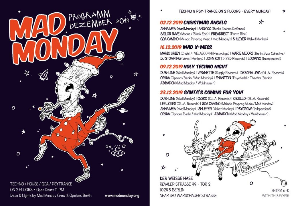 Mad Monday presents Holy Techno Night 9 Dec '19, 23:00