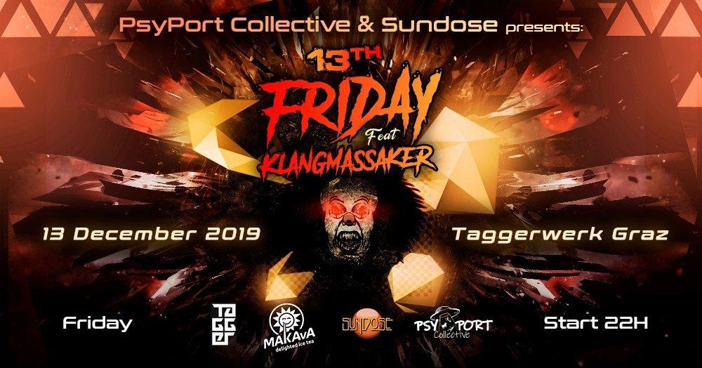 Party Flyer FRIDAY the 13th - KLANGMASSAKER live 13 Dec '19, 22:00