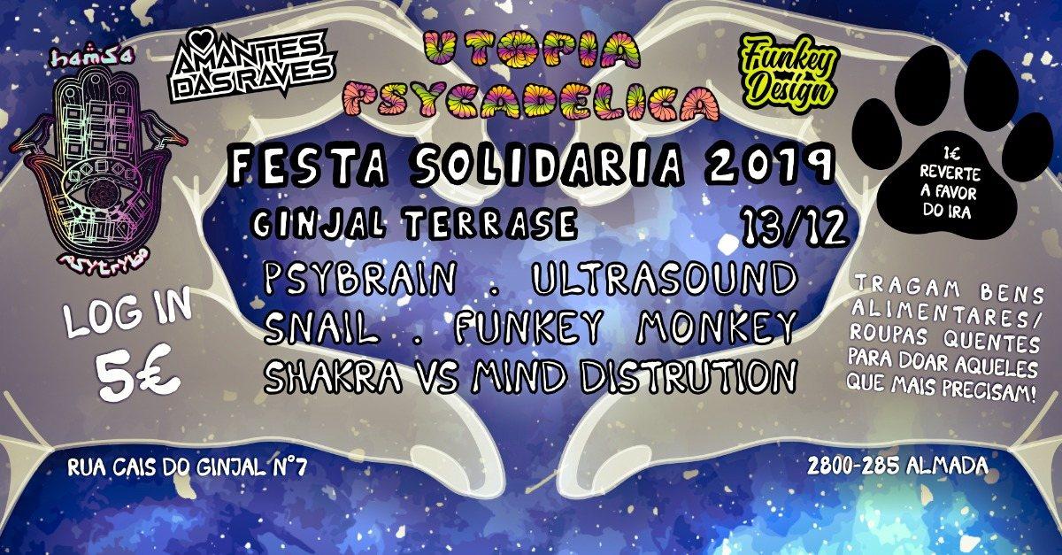 Party Flyer Hamsa Psytrybo & Utopia Psycadelica // Evento Solidario 2019 13 Dec '19, 23:00