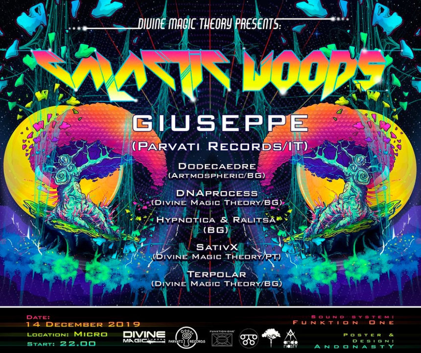 Party Flyer Galactic Woods 14 Dec '19, 23:00