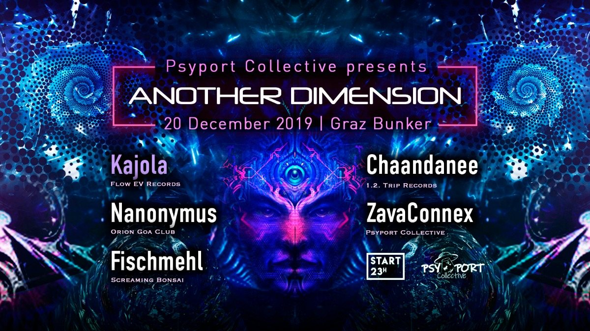 Party Flyer Another Dimension V by PsyPort Collective 20 Dec '19, 22:00