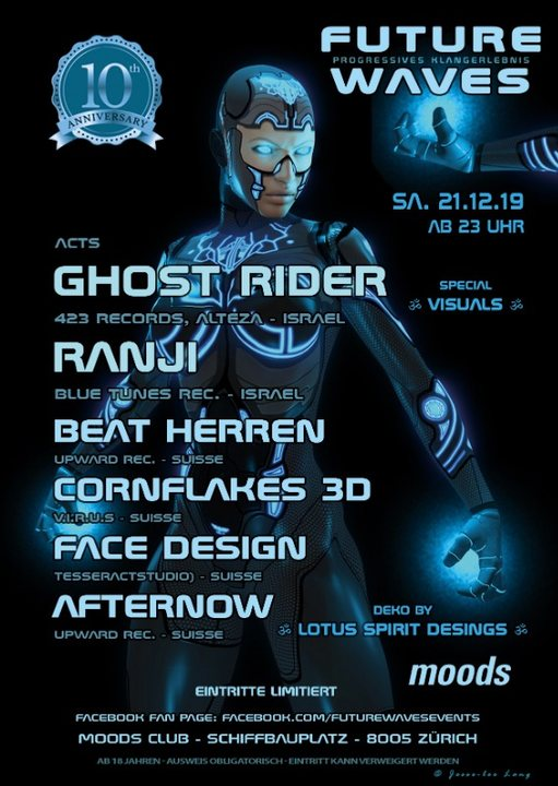 Party Flyer 10 Jahre Future Waves - Ghost Rider, Ranji and more 21 Dec '19, 23:00
