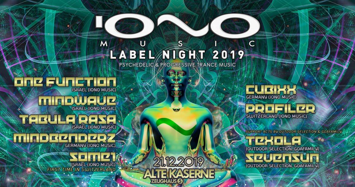 "Party Flyer IONO MUSIC ""Label Night 2019"" Alte Kaserne Zürich 21 Dec '19, 23:00"