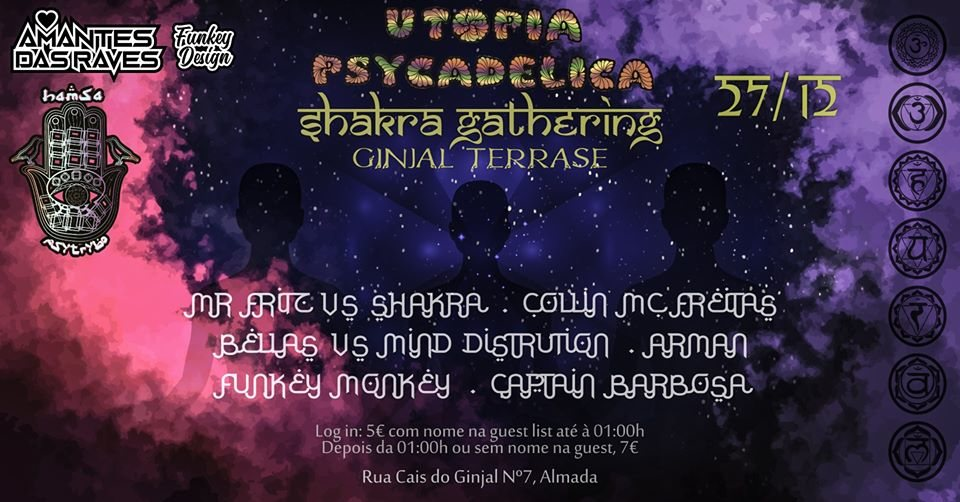 Party Flyer Hamsa Psytrybo & Aarti Records ॐ Shakra Gathering at Ginjal 27 Dec '19, 23:00