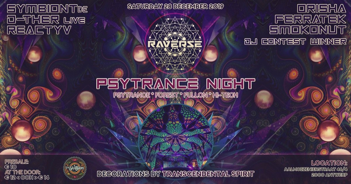 Party Flyer Raverse - Psytrance night 28 Dec '19, 23:00