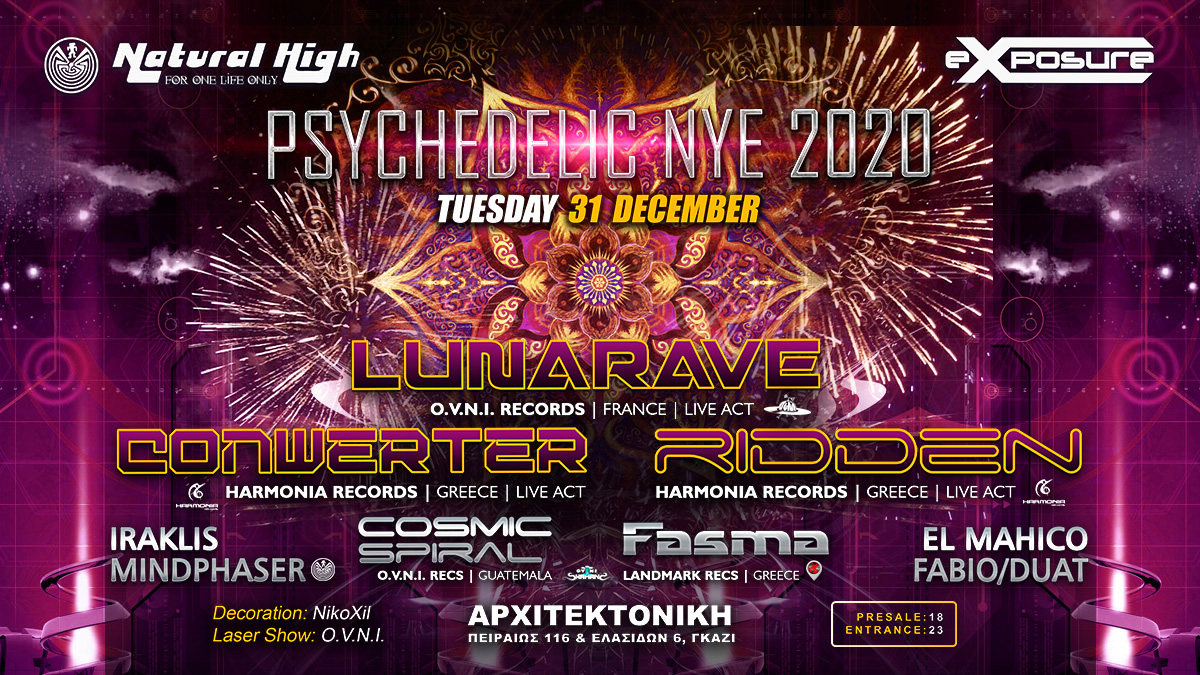 Party Flyer Natural Exposure PSY New Year's Eve in Athens 31 Dec '19, 23:30