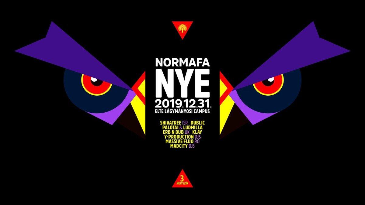 Party Flyer Normafa NYE // ELTE Lágymányosi Campus // ShivaTree // erb N dub 31 Dec '19, 22:00