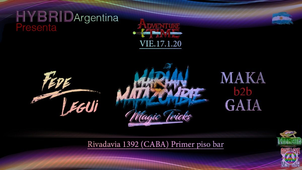 Party Flyer Psytrance night at PPB // Hybrid Argentina // Rivadavia st . 1392 17 Jan '20, 23:00