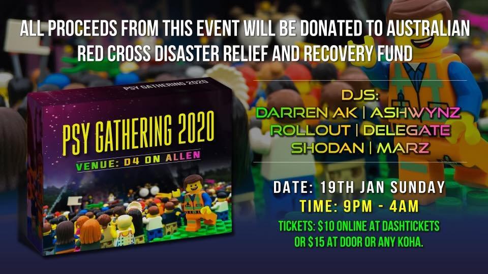Party Flyer Trancendence Psy Gathering: Aus Bushfires Fundraiser: 19th Jan 19 Jan '20, 21:00