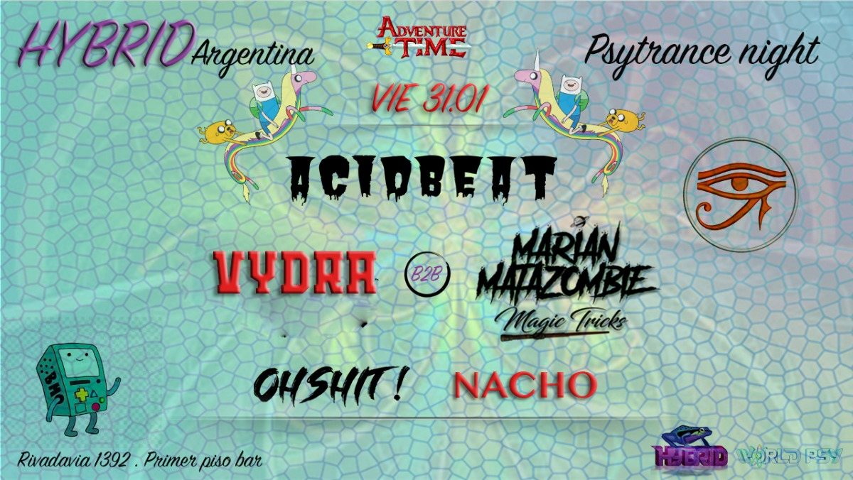 Party Flyer Psytance night at PPB // 50P h 2am // Hybrid Argentina 31 Jan '20, 23:00