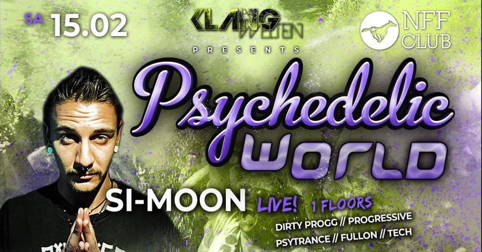 Party Flyer Psychedelic World | Si Moon Live 15 Feb '20, 23:00