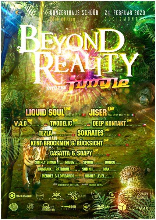 Party Flyer Beyond Reality 20 - Into the Jungle /w Liquid Soul, Jiser, W.A.D, Tezla u.v.m 24 Feb '20, 21:00