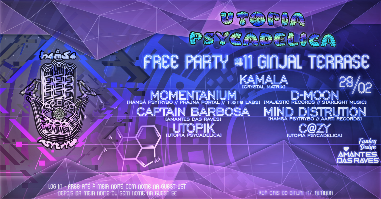Party Flyer Hamsá PsyTrybo & Utopia Psycadelica // Free Party #11 at Ginjal 28 Feb '20, 23:00