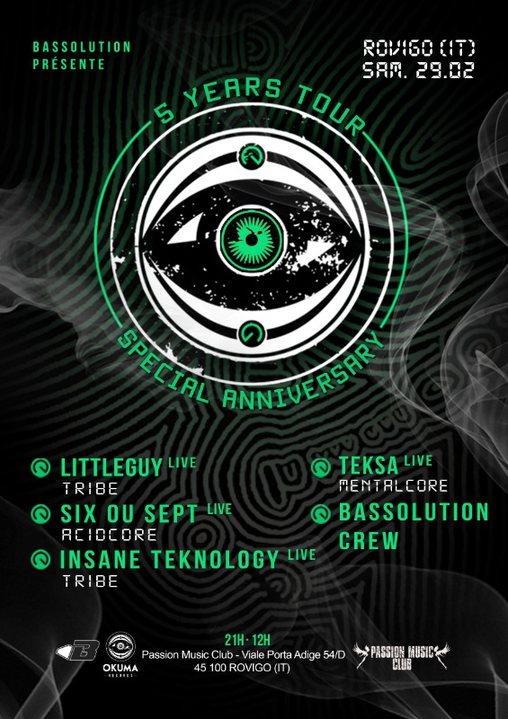 Party Flyer OKUMA 5 YEARS TOUR-Rovigo (IT) Littleguy/Teksa/Six ou Sept/Insane Teknology 29 Feb '20, 22:00
