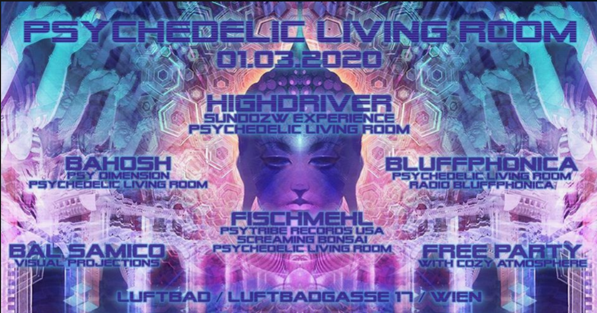 Party Flyer Psychedelic Living Room #6 1 Mar '20, 22:00