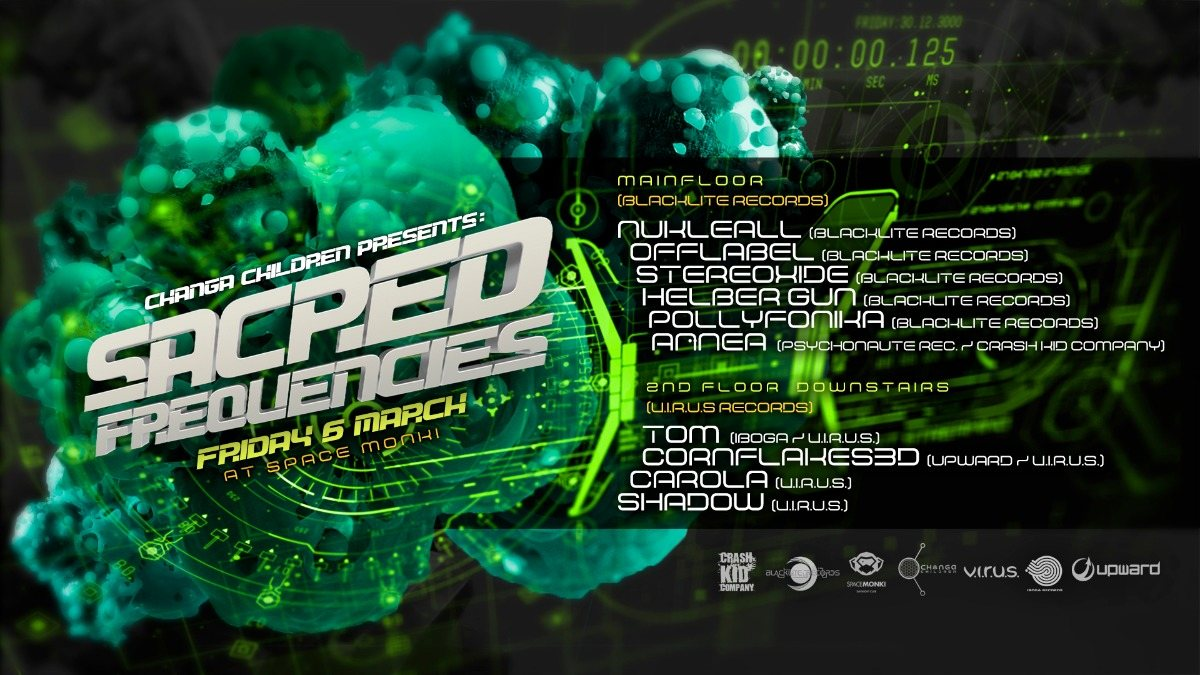 Party Flyer Sacred Frequencies w/ Blacklite Records 6 Mar '20, 23:00