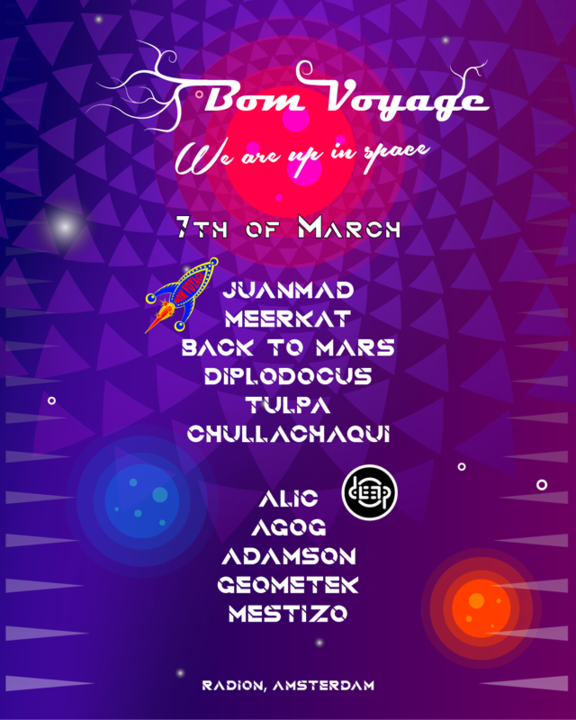 "Party Flyer Bom Voyage: Radiate ""We are in Space"" 7 Mar '20, 23:00"