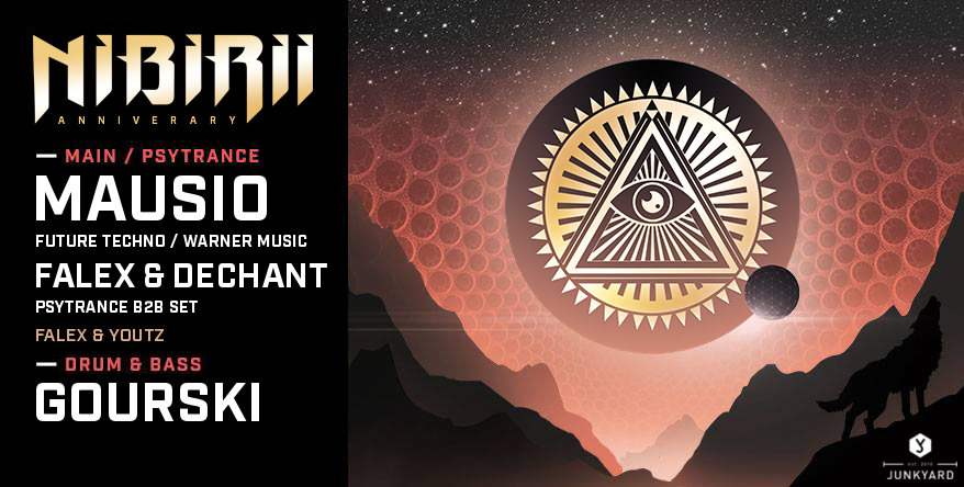 Party Flyer Nibirii 3 Tour: Mausio, Falex & Dechant, Gourski im Junkyard 13 Mar '20, 22:00
