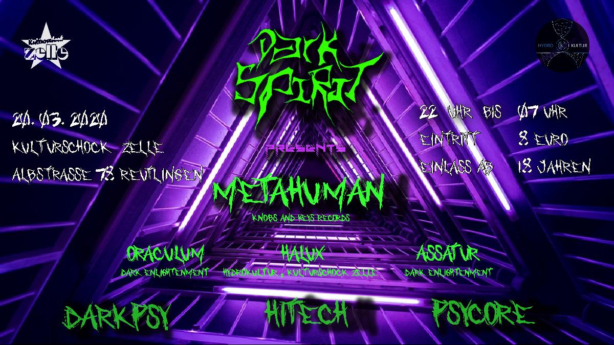 Party Flyer Dark Spirit pres. Metahuman 20 Mar '20, 23:00