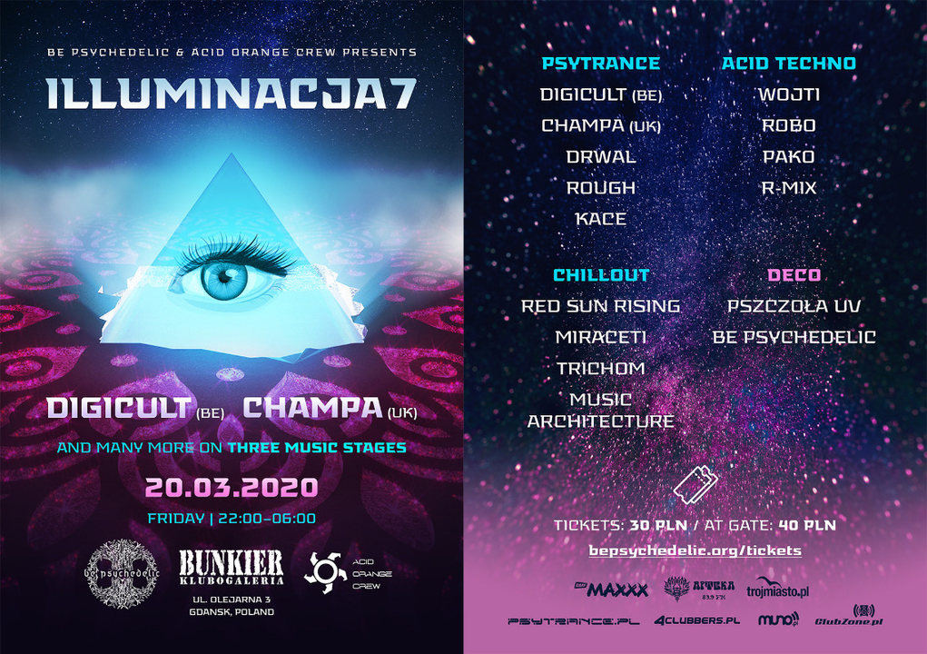 Party Flyer Illuminacja 7 - Be Psychedelic & Acid Orange Crew 20 Mar '20, 22:00