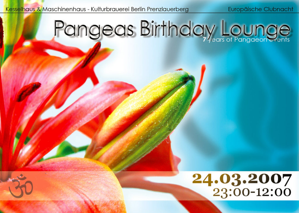 Party Flyer Pangeas Birthday Lounge - EU Clubnacht Berlin - 7 Years Of Pangaeon Events 24 Mar '07, 22:00