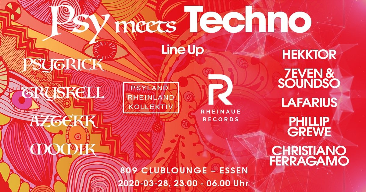 Party Flyer PSY meets TECHNO 28 Mar '20, 23:00