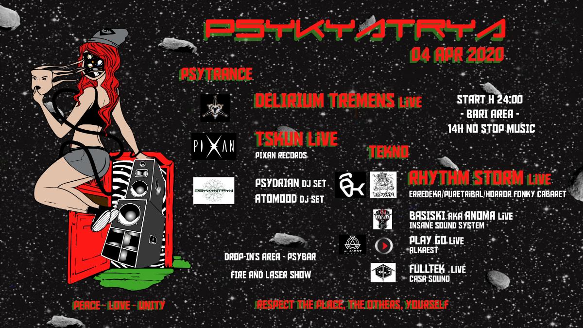 Party Flyer ◤◢ Rhythm Storm • Delirium Tremens • Tskun _Live Tekno & Psy ◣◥ 5 Apr '20, 00:00