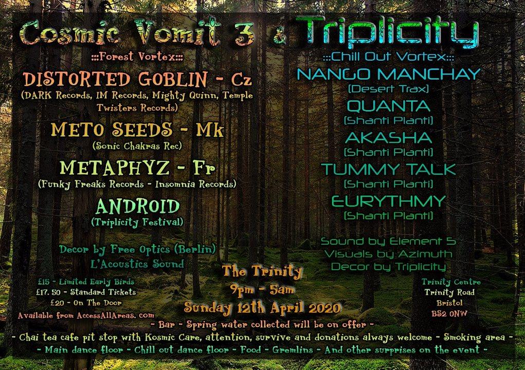 Party Flyer Cosmic Vomit 3 & Triplicity Festival 12 Apr '20, 21:00