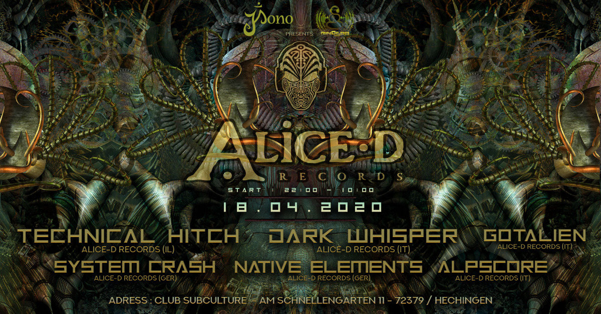 ★ Alice-D Records Labelnight ★ 18 Apr '20, 22:00