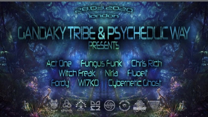 Party Flyer The Psychedelic Way & Gandaky Tribe 25 Apr '20, 23:00